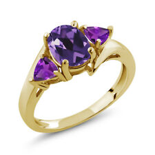 1.42 Ct Oval Purple Amethyst 18K Yellow Gold Plated Silver Ring