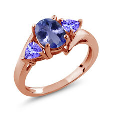 1.58 Ct Oval Blue Tanzanite 18K Rose Gold Plated Silver Ring
