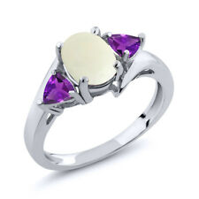 1.47 Ct Oval Cabochon White Simulated Opal Purple Amethyst 14K White Gold Ring