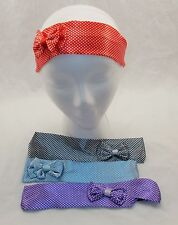 "New 4 Colors Polka Dot with Bow 2""Wide Rockabilly Girls Hair Elastic Headbands"