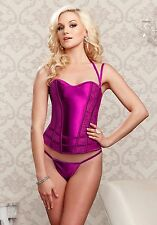 iCollection Lingerie 7276 Satin And Lace Corset With Convertible Double Straps