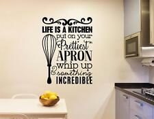 Life Is A Kitchen Vinyl Decal Wall Sticker Words Letters Kitchen Decor Art