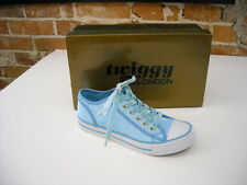 TWIGGY London Sky Blue Satin Sneakers with Velvet Laces New