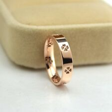 Size3~10 14K Rose Gold Filled Stainless Steel Jewelry Four-leaf Women's Rings
