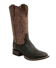 Lucchese M4537 Mens Black Caiman Crocodile & Goat Leather Western Cowboy Boots