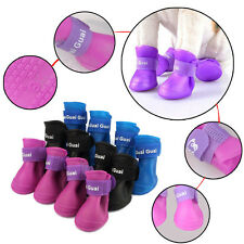 Waterproof 4Pcs Dog  Anti-Slip Candy Colors Rubber Boots Pet Rain Shoes Booties