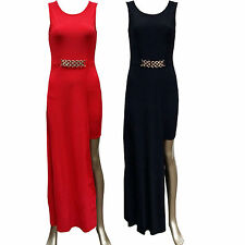Ladies Women Sleeveless One Leg Cut Out Front Belted Style Party Long Maxi Dress