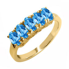 1.50 Ct Oval Swiss Blue Topaz 14K Yellow Gold Ring