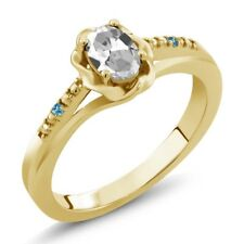 0.51 Ct Oval White Topaz and Swiss Blue Simulated Topaz 18K Yellow Gold Ring