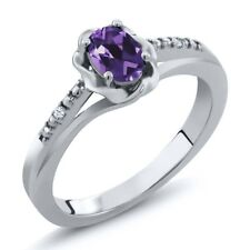 0.37 Ct Oval Purple Amethyst White Topaz 925 Sterling Silver Ring