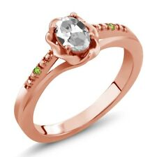 0.51 Ct Oval White Topaz and Green Simulated Peridot 14K Rose Gold Ring
