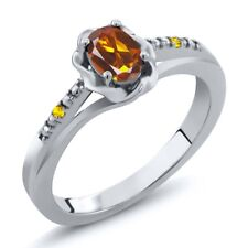 0.42 Ct Oval Orange Red Madeira Citrine Yellow Sapphire 925 Sterling Silver Ring