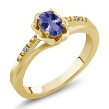 0.46 Ct Oval Blue Tanzanite White Diamond 18K Yellow Gold Plated Silver Ring