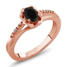 0.40 Ct Oval Black Onyx White Diamond 18K Rose Gold Plated Silver Ring