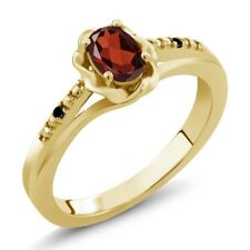 0.51 Ct Oval Red Garnet Black Diamond 18K Yellow Gold Plated Silver Ring