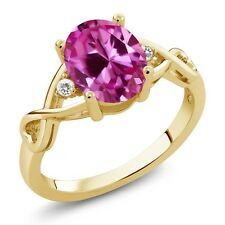 2.44 Ct Pink Created Sapphire White Sapphire 18K Yellow Gold Plated Silver Ring