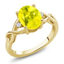 1.85 Ct Oval Canary Mystic Topaz White Topaz 18K Yellow Gold Plated Silver Ring