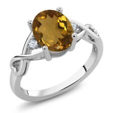 1.45 Ct Oval Whiskey Quartz White Topaz 925 Sterling Silver Ring
