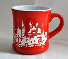 Coffee Mug San Francisco Souvenir City SF Mercantile Vintage Art Red Green Thick