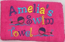 PERSONALISED GIRLS SWIM TOWEL- GIRL SWIMMING DESIGN - CHOICE OF COLOURS.