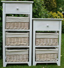 STORAGE FOR AROUND THE HOUSE - 3 & 4 DRAWER WOOD & WICKER STORAGE UNITS