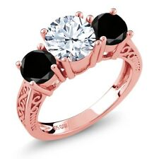 2.50 Ct Round White Topaz Black Diamond 18K Rose Gold Plated Silver 3-Stone Ring