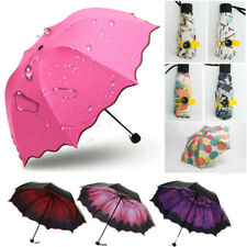 Women Girls Windproof Sun Rain Umbrella Korean Flower Princess Folding Umbrella