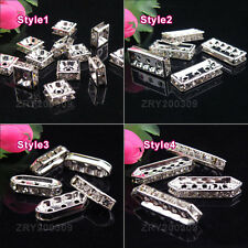 Silver Plated Crystal Spacer Beads/Spacer Bar R0163
