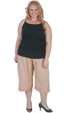 New Plus Size Mushroom Rayon Crop Pants | Loose Fit | Flowing & Comfortable