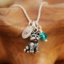 925 Sterling Silver Personalised Cute 3D Cat Pendant Necklace With Birthstone