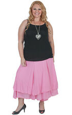 New Plus Size Pink Layer Skirt | Elastic stretch waist | Full Skirt 18-28