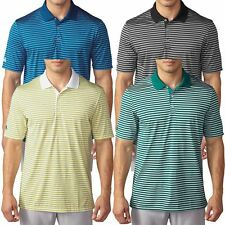 2016 Adidas Tournament 3-colour Stripe Mens Ribbed Performance Golf Polo Shirt