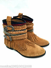 ZARA BROWN LEATHER FRINGE ETHNIC ANKLE BOOTS SIZE EUR 37_38_39 RRP £69.99
