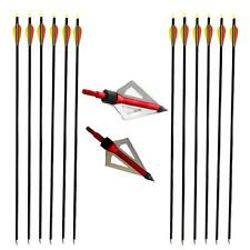 "12X Archery 30"" Fiberglass Arrows Hunting Target Practice Broadheads Arrow Head"