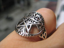 925 Sterling  Silver star and moon Pentagram Ring Thailand Jewelry Art A11
