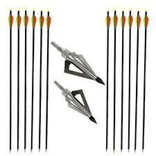 "6pcs Archery Screw-In 30"" Fiberglass Arrows Hunting Target Steel Blade Broadhead"