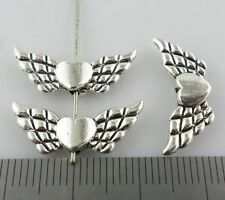 12/50/400pcs Tibetan Silver Angel Love Heart Wings Jewelry Spacer Beads 9x22mm