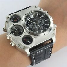 Quartz Sport Military Stainless Steel Dial PU Leather Band Wrist Watch Men UK