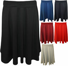 Womens Skater Stretch Waist Plain Flared Skirt  Ladies Plus Size Gift