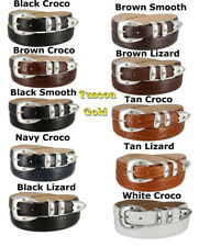 GENUINE LEATHER ITALIAN CALFSKIN TUSCON DRESS BELT 1-1/8 INCH WIDE NEW NWT