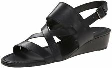 Franco Sarto Women's Caliari Black Leather Wedge Sandal