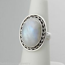 Oval Moonstone Ring - 925 Sterling Silver Genuine Natural Gemstone NEW