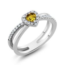0.51 Ct Heart Shape Yellow Citrine 925 Sterling Silver Ring