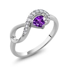 0.33 Ct Heart Shape Natural Purple Amethyst 925 Sterling Silver Infinity Ring