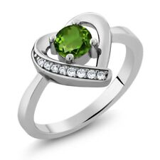 0.59 Ct Round Green Chrome Diopside 925 Sterling Silver Heart Ring