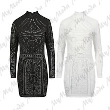 Ladies Womens Glitter Polo Neck Long Sleeve Beaded Bodycon Mini Tunic Dress 8-14