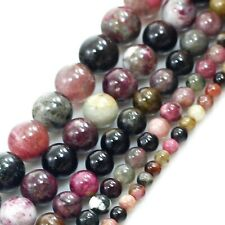 """Natural Multi-Color Tourmaline Round Beads 15"""" 4,6,7,8,9,10,12mm, pick your size"""
