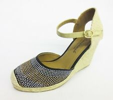 Ladies Savannah Black Jute Wrapped Wedges F2257