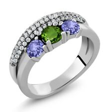 1.81 Ct Round Green Chrome Diopside Blue Tanzanite 925 Sterling Silver Ring