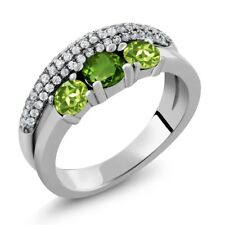 1.81 Ct Round Green Chrome Diopside Green Peridot 925 Sterling Silver Ring